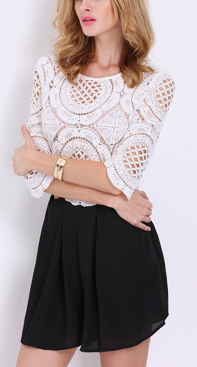 White black half sleeve lace hollow playsuit - this SheIn style is so me!
