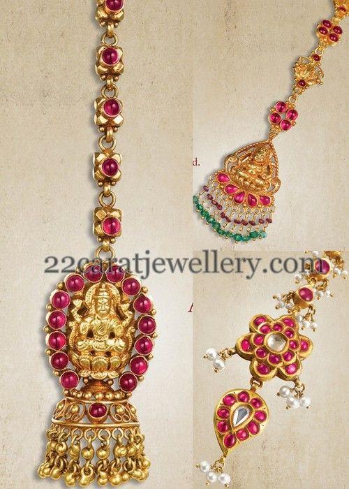 Jewellery Designs: Lakshmi Maang Tikka Designs