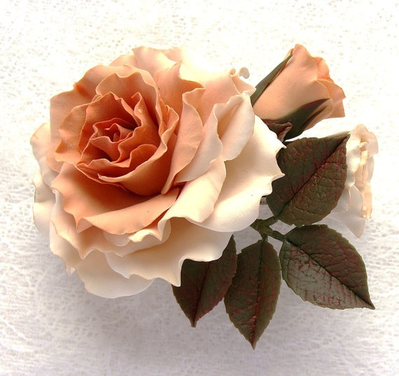 Polymer clay flower barrette with a large by SilverSeagullArt, $54.00