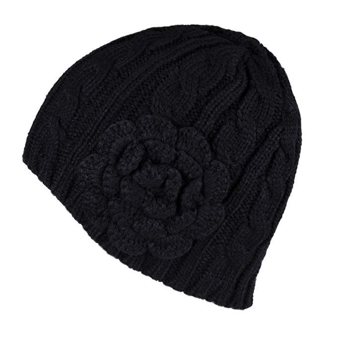 024e2918ef2d3 Hatsandscarf CC Exclusives Women s Knitted Cute Beanie Hat with Flower  Accent (Beige) at Amazon Women s Clothing store