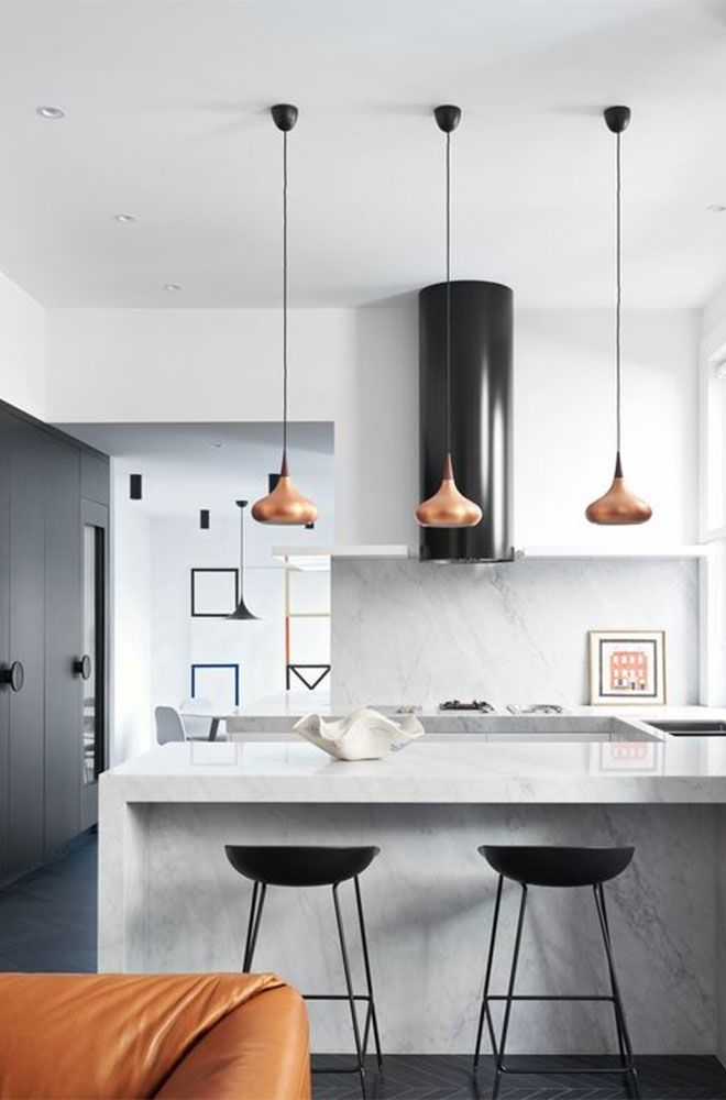 Modern kitchen inspiration, with chunky waterfall benchtop and black features -  Found on Pinterest