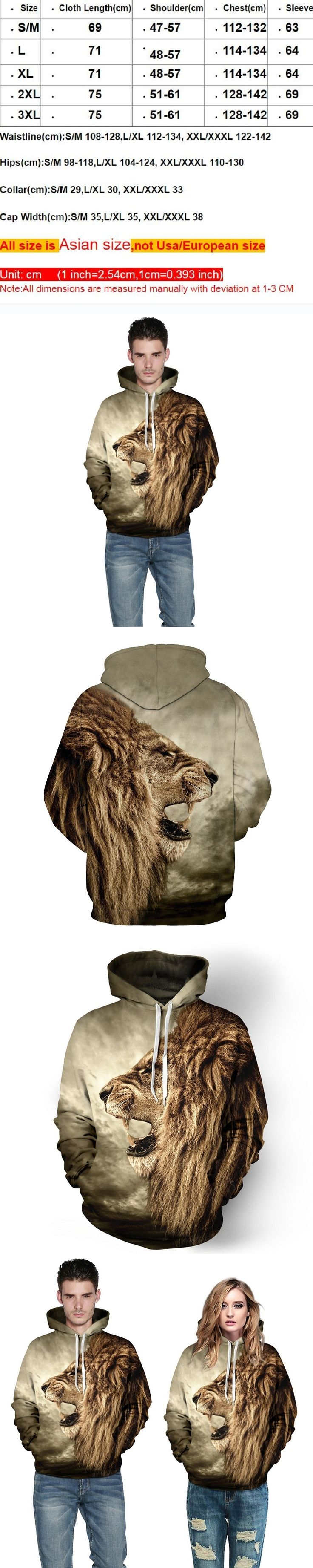 Fashion 3D Animal print Hoodies Sweatshirts for men women couple Hooded punk street wear Outfits Casual Galaxy Coats Pullover