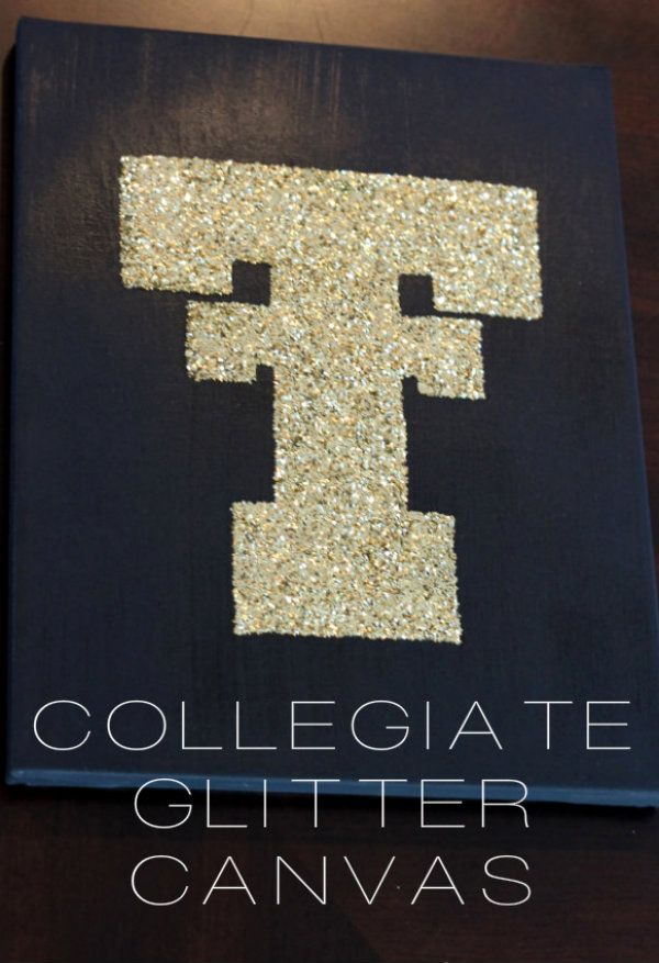 {DIY} Collegiate Glitter Canvas