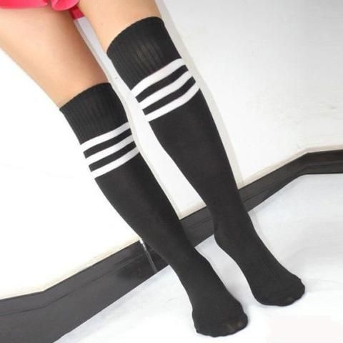 Women's Football Striped Long Tube Tube Socks Soccer Lacrosse Rugby Sport Knee High Black Socks long socks JAKKOUTTHEBXX JAKKOU††HEBXX - JAKKOUTTHEBXX