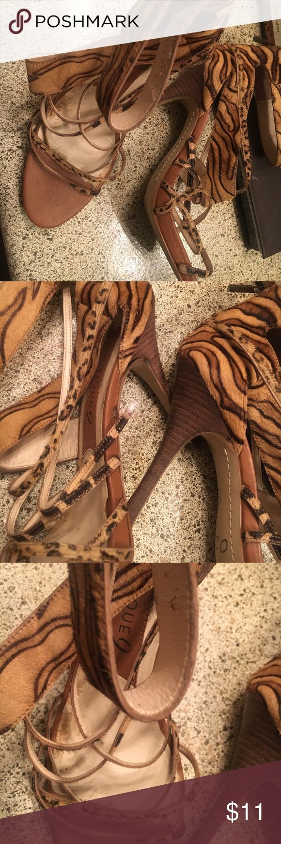 Boutique 9 Real Pony Skin Animal Print Ankle Wrap Sexy love these bought them at an awesome price  at a sample sale in NYC ❤️ one small strap came out of side shown in pic can be glued very inexpensive I gained weight lol 😂 Boutique 9 Shoes Heels