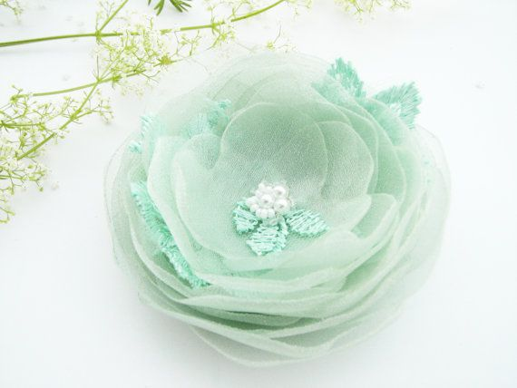 Mint green flower hair clip brooch Hair flower mint green Wedding hair piece Sash flower pin.. Cute for after ceremony