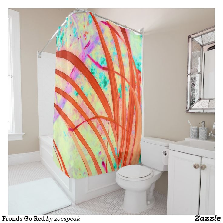 Fronds Go Red Shower Curtain - 15% off with code APRILWEEKEND from ZoeSPEAK