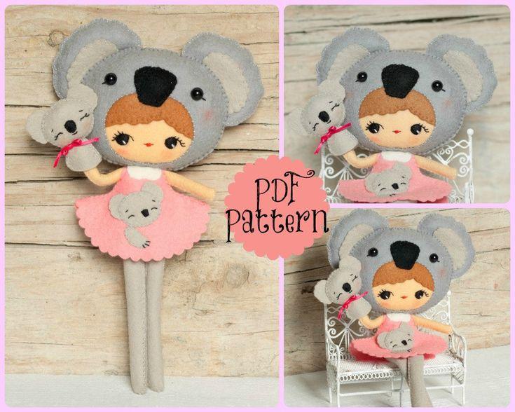 PDF. Koala girl with puppet. Plush Doll Pattern, Softie Pattern, Soft felt Toy Pattern.. $7.00, via Etsy.
