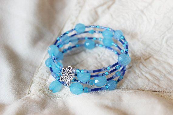 Light blue memory wrap bracelet Baby blue beaded by EttarielArt
