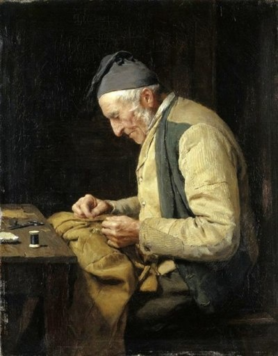 notyourgramma:  The Village Tailor, 1894 by Albert Anker.  Swiss, (1831-1910)