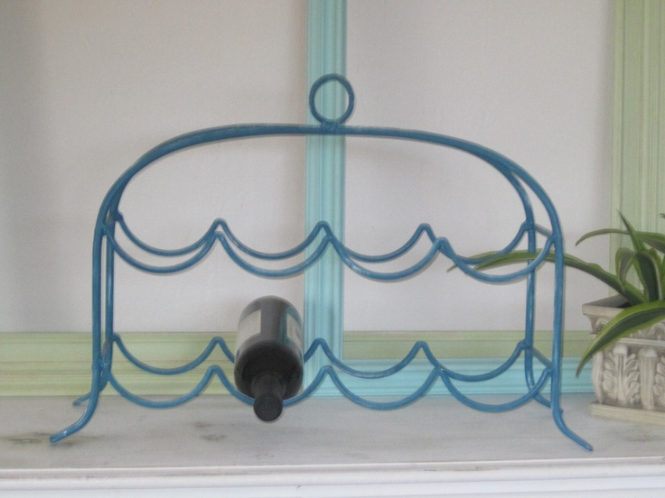 Rustic Cottage Wine Rack 8 Bottle Upped in Teal by SpinYourDream