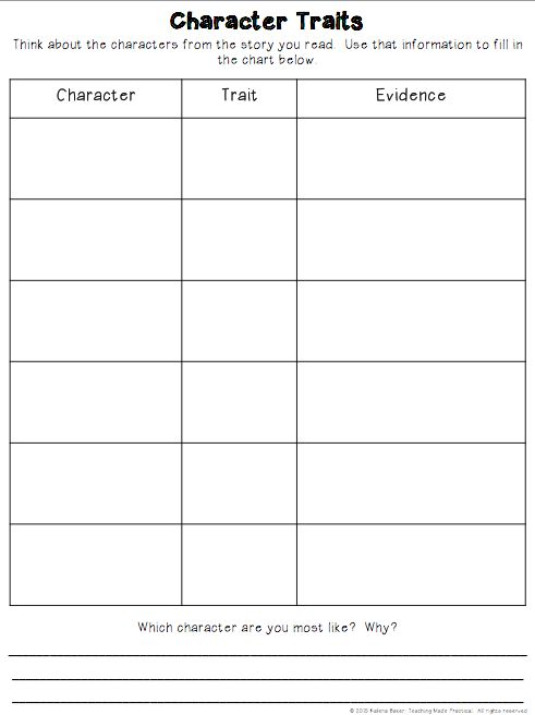 Free Character Traits Graphic Organizer that requires students to cite evidence.