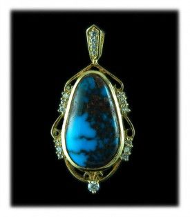 Super Gem Bisbee Turquoise and Gold Necklace with Diamonds