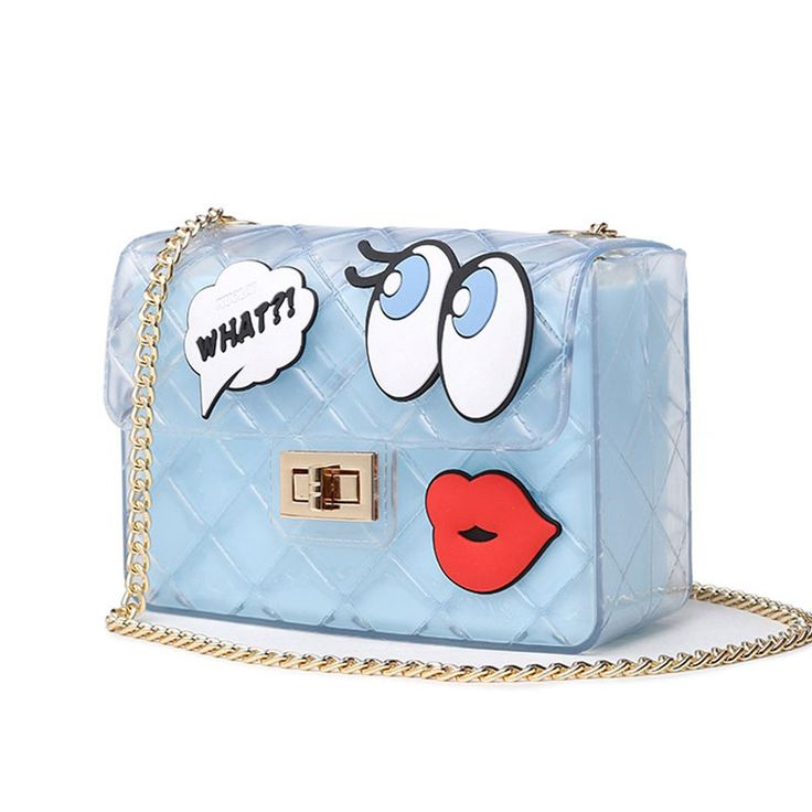 Women Cute Jelly Bag Brands Lolita Bag Candy Transparent Messenger Beach Bags Girls Clear Graffiti Red Lips Crossbody Handbags