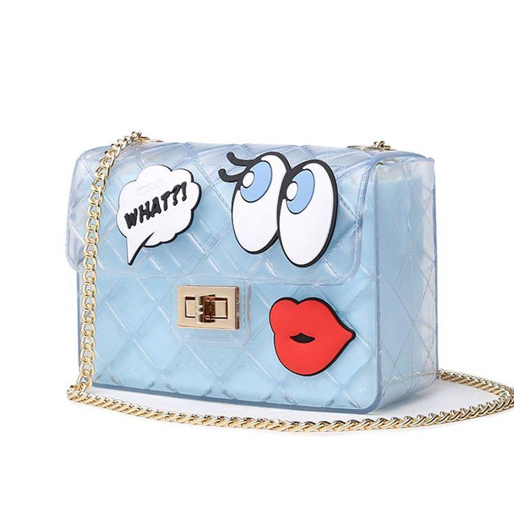 Women Cute Jelly Bag Brands Lolita Bag Candy Transparent Messenger Beach Bags Girls Clear Graffiti Red Lips Crossbody Handbags