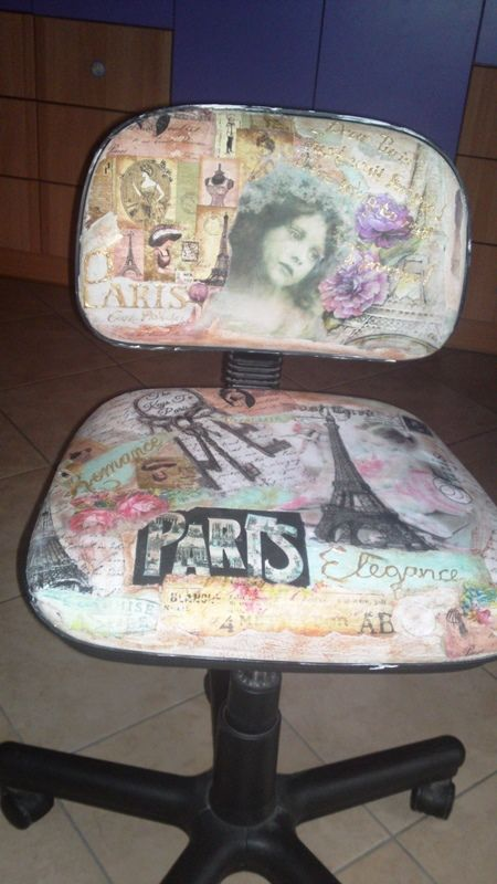 decoupage desk chair