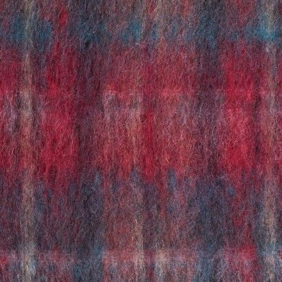 Red/Dark Teal Plaid Mohair Boucle Fabric by the Yard | Mood Fabrics