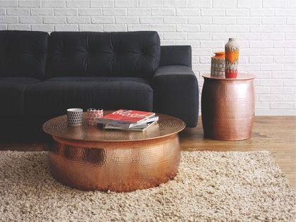 ORRICO NATURAL Metal Rose gold hammered aluminium coffee table - HabitatUK
