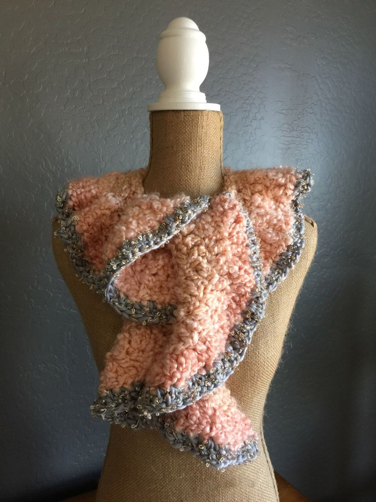 "ROMANTIC Crocheted Ruffle Potato Chip Scarf: Demi Scarf in ""Coral"" and Isaac Mizrahi ""Audubon"" by MyOnDemandStyle on Etsy https://www.etsy.com/listing/267608204/romantic-crocheted-ruffle-potato-chip"