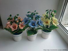 Пёстрые цветы из бисера. МК. Обсуждение на LiveInternet - Российский Сервис…