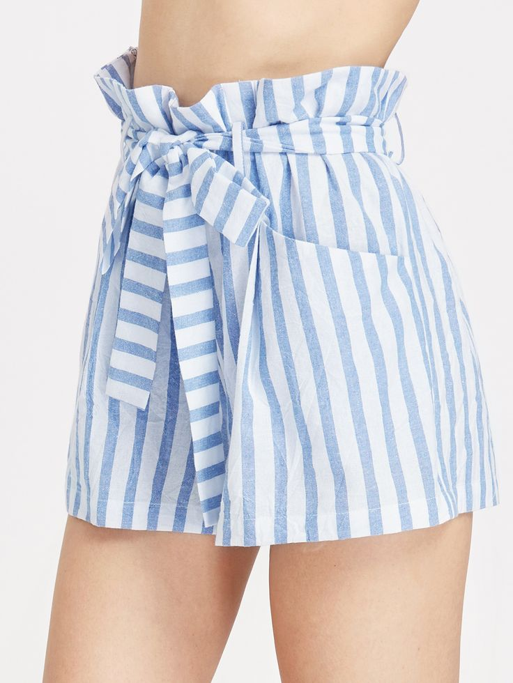 Shop Belted Ruffle Waist Striped Shorts online. SheIn offers Belted Ruffle Waist Striped Shorts & more to fit your fashionable needs.
