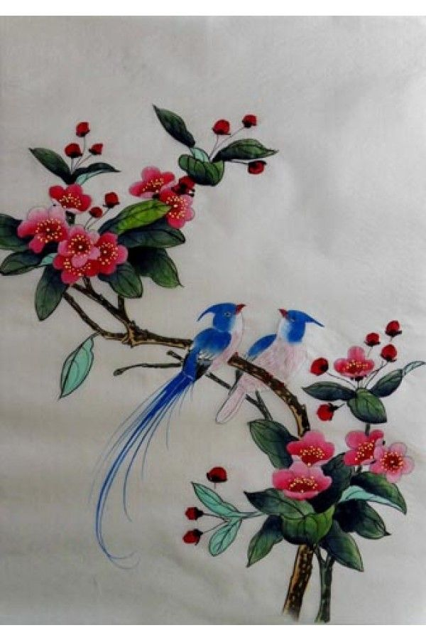Chinese Silk Painting Begonia Flower And Birds Chinese Bird Painting Silk Painting Chinese Embroidery Creative Embroidery