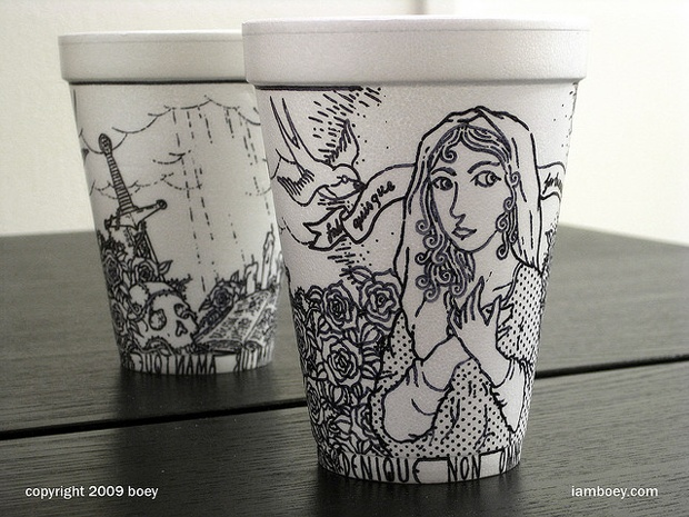 coffee cups... painted. Nice design on takeaway coffee cups could attract more customers instead of a plain cup.