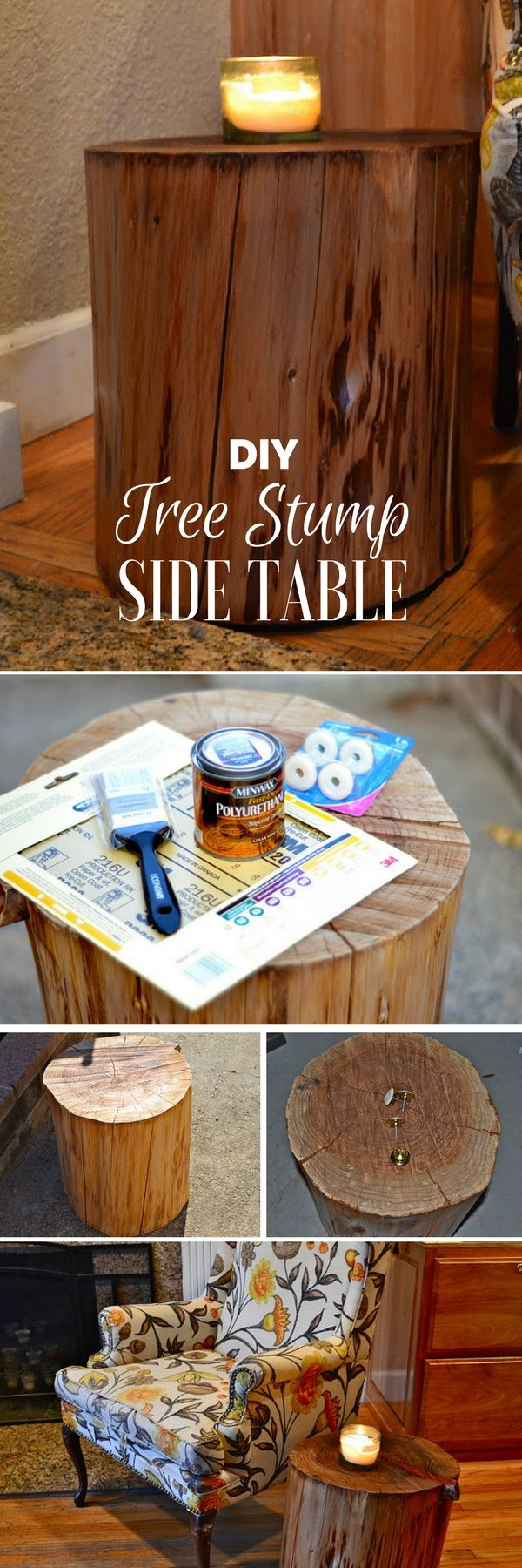 Check out the tutorial on how to make a DIY tree stump side table @istandarddesign