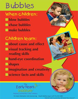 The Early Years Institute shares what children learn when playing with bubbles! -Repinned by Totetude.com