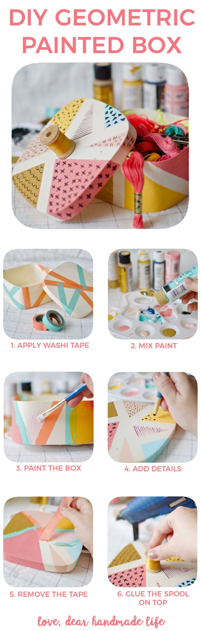 DIY Geometric Painted Wooden Box from Dear Handmade Life