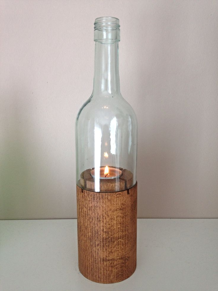 Bottle shaped tealight holder #tealight #wine #winebottle #bottle #decoration #candle #decor #cozy #home #recycled
