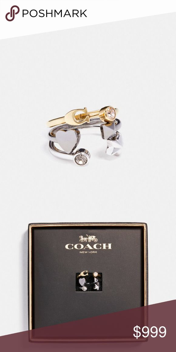 Coming Soon Coach Stardust Ring Set Coach Set of 3 Rings.  Plated Metal.  Size 7.  Stardust Ring Set. Rose gold, silver and gold tones. Coach Jewelry Rings