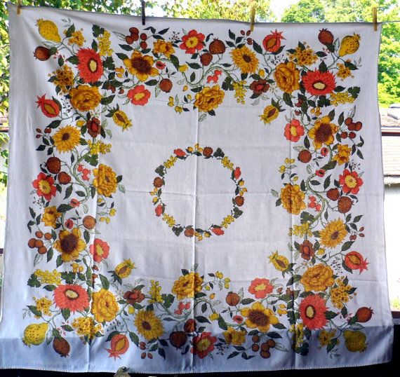 VINTAGE COTTON TABLECLOTH / Square Tablecloth / by BYGONERA