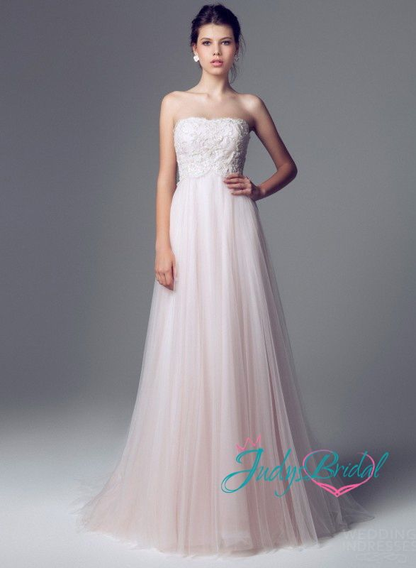 Flowy Wedding Dresses Jw14089 Simple Pink Color Aline
