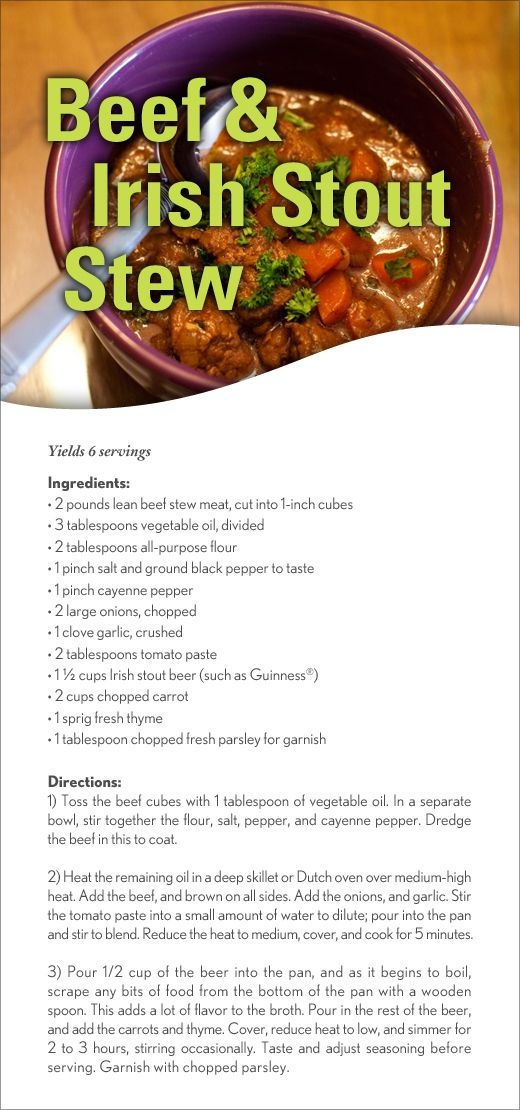 Beef & Irish Stout Stew for St. Patrick's Day!