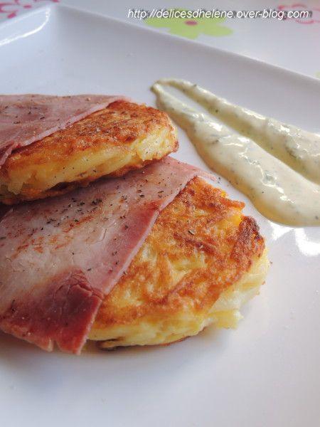GALETTES DE POMMES DE TERRE AU JAMBON Sauce au yaourt et moutarde