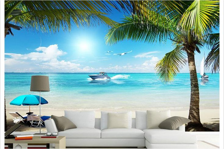 Free shipping 2015 custom non-woven wall paper Coconut palm beach sea TV setting wall 3d mural wallpaper decoration
