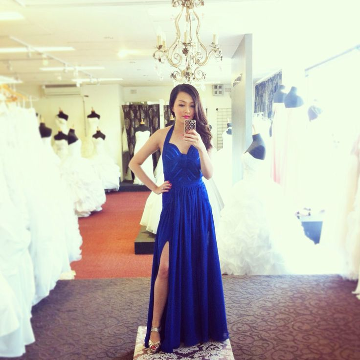 Blue couture dress for an evening wedding.