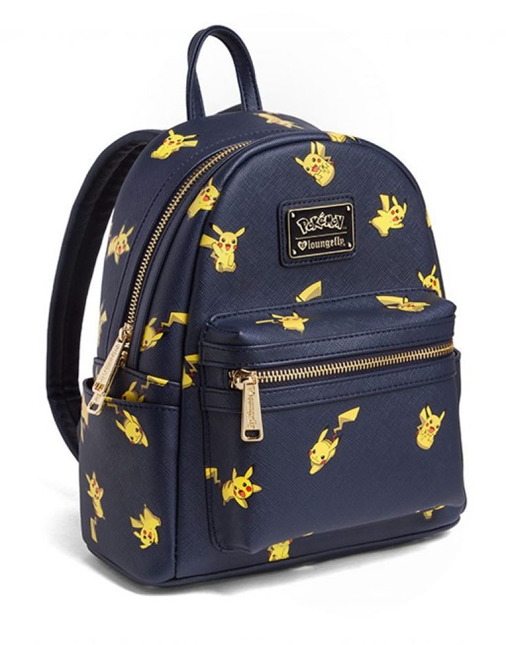 Pikachu Saffiano Vegan Leather Backpack Officially-licensed Pokémon merchandise Made by Loungefly Store all your Poké things in a cute little backpack Features main compartment, front zip-up pocket, and two small open side pockets Dark blue inside with electric-type symbols Materials: Pebble faux ..