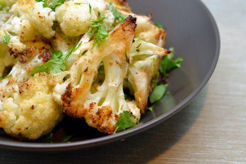 Roasted Curried Cauliflower Recipe Side Dishes with cauliflower, ghee, avocado oil, curry powder, kosher salt, ground black pepper, lemon, cilantro leaves