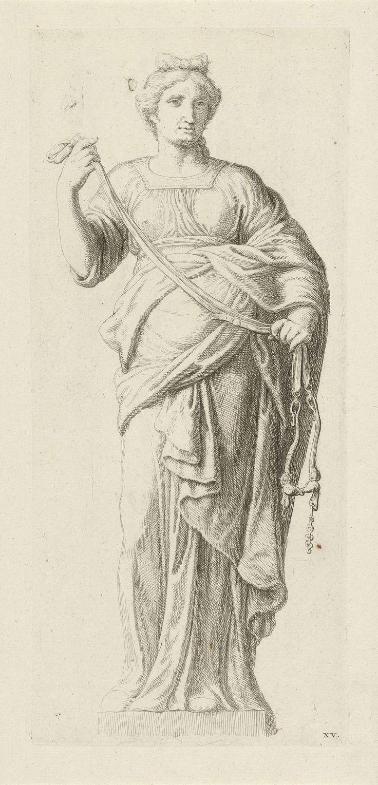Hubert Quellinus | Personificatie van Gematigdheid, Hubert Quellinus, Artus Quellinus, 1655 - 1768 | Personificatie van Gematigdheid, naar een beeld op het timpaan (aan de zijde van de Nieuwezijds Voorburgwal) van het Stadhuis op de Dam te Amsterdam. Gematigdheid, een van de vier kardinale deugden, heeft een leidsel in haar handen.