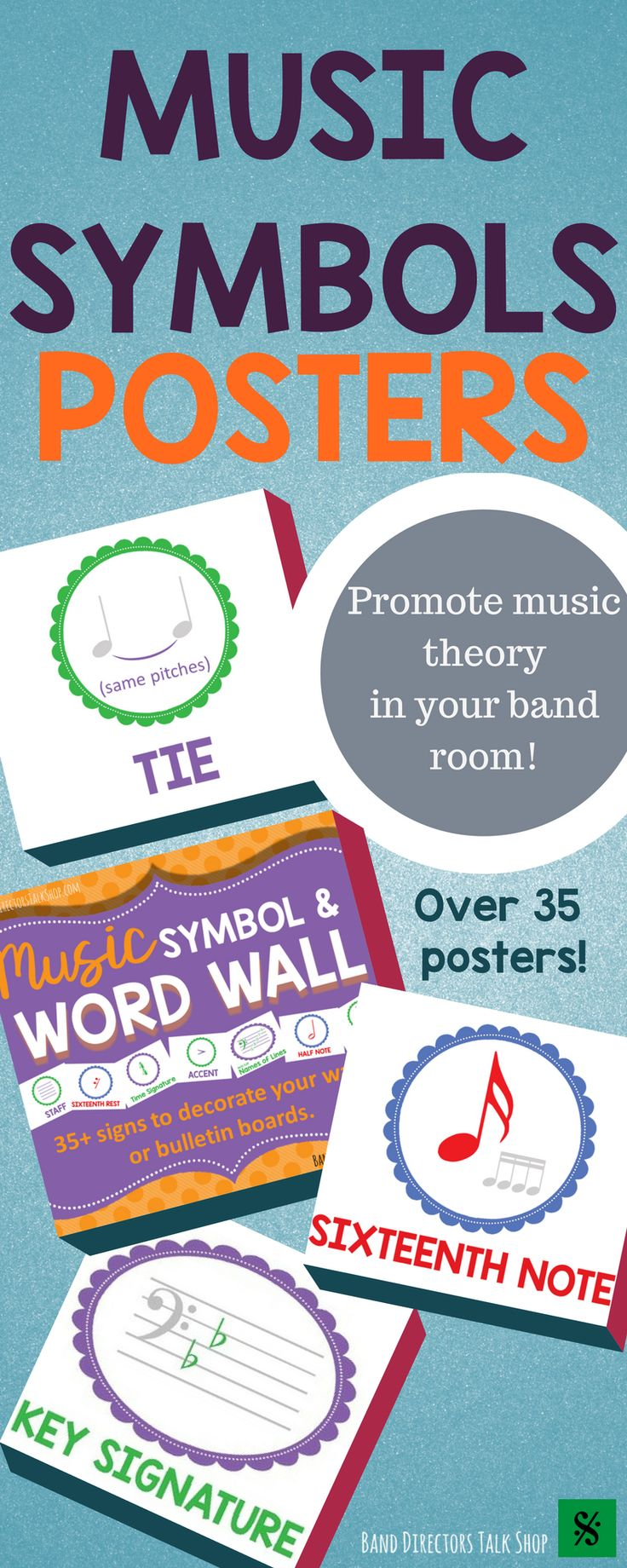 """$5.00 Music symbols word wall! Visit """"Band Directors Talk Shop"""" on Teachers Pay Teachers for band lesson plans, band games, band activities, beginning band ideas, band bulletin board sets, rhythm games, note name games, music word walls, practice reports, rehearsal techniques, woodwind, brass and percussion instrument care, band teaching strategies, motivational quotes and more!"""