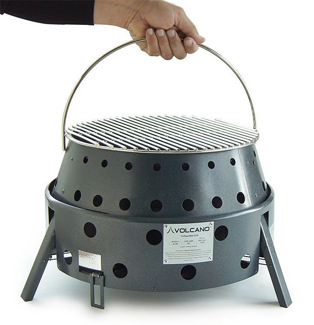Volcano Grill -- Very versatile; the Volcano Grill burns wood, charcoal & optionally propane. Plus, in addition to grilling, you can get accessories to make it work as an oven, smoker, fryer and griddle. Or, you can use it as a portable fire pit. Generous venting means high cook temps while the double-wall metal construction means very little heat transfer, making it safe for use on the patio or tabletop