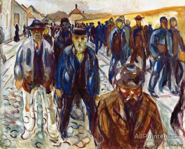 Edvard Munch,Workers On Their Way Home oil painting reproductions for sale
