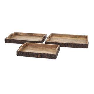 Nakato Wood Bark Serving Trays (Set of 3)