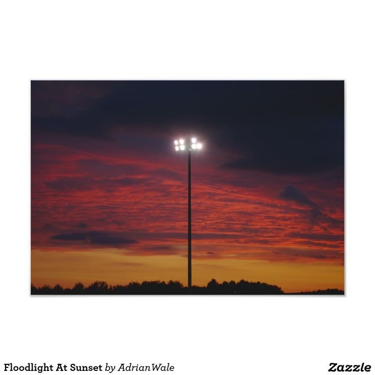 Floodlight At Sunset Photographic Print. Taken at Keys Park, home of Hednesford Town Football Club.