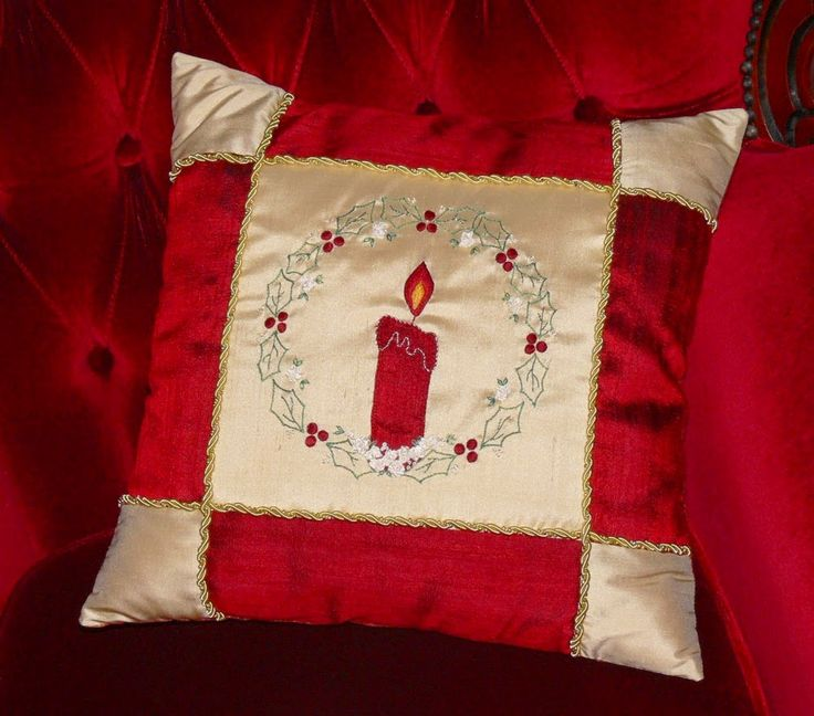 """This elegant """"Candle, Candle, Burning Bright"""" Christmas cushion would make a beautiful addition to your home. It  is embellished with lovely applique and embroidery. Val Laird Designs"""