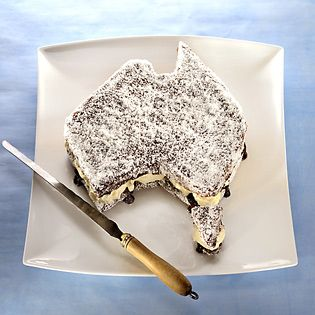 Australia Day party lamington - instructions to make this quintessential australian cake and in the shape of the country too. must have to celebrate at yours this year. man i loooooove chocolate lamingtons!