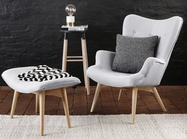 Fot. Fotel z podnóżkiem, Hubsch, www.opaandcompany.com