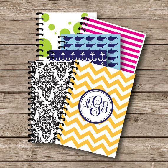 Personalized Spiral Note book school Supplies by sweetgrassprints, $12.00